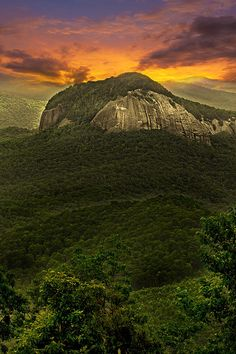 Looking Glass Rock off Blue Ridge Parkway in North Carolina near Asheville by Gray Artus-one of my favorite places! Nc Mountains, North Carolina Mountains, North Carolina Homes, Appalachian Mountains, Blue Ridge Mountains, Great Smoky Mountains, Bolivia, Camping 3, Camping Cabins