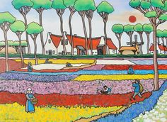 Bloembollenveld in Hillegom City Folk, Bright Art, Folk Art, Cool Pictures, Workshop, Colours, Draw, Watercolor, Illustration