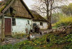 Bromolle Farm with Chickens  - Peder Mork Monsted (1859-1941)