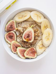 Steel-cut oatmeal with banana, figs, almond butter and honey! -The Blonde Chef