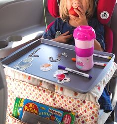 Between road-trips, carpools and a million errands, kids spend many hours of their life buckled up in the car. Our recent Summer road-trip inspired me to create a DIY Lap Tray that could work for crafts, activities, snacks and even a nap on-the-go. Now that I have one made for Clare, I want to make one for everyone, including myself!Ready to learn how to make a DIY Travel Lap Tray? I think this one could be our next great go-to birthday gift!