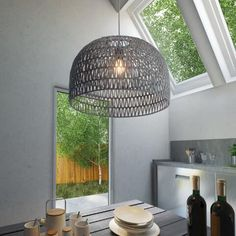 Featuring a neutral gray fabric zigzag design woven around an open metal frame, this dome-shaped pendant has a light and airy modern design. Ceiling Lamp, Ceiling Lights, Drum Shade Chandelier, Basket Lighting, Open Weave, Modern Pendant Light, Living Room Grey, Pendant Lamp, Zig Zag
