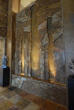Etonnant Stone Wall Indoor Waterfall   Chris You Should Build Something Like This So  It Matches!