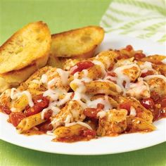 Italian Herb Baked Chicken & Pasta: Unlike most baked pasta recipes, this one starts with uncooked pasta so it's super convenient. With the added water and canned diced tomatoes, the pasta cooks in the oven along with the chicken and cheese for an easy one-dish meal.