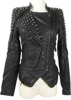 Heavy Metal Rocker Black Leather Spike Jacket  Someone buy this for me?