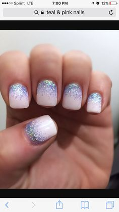 This, but with with glitter tips and two colors instead of just white?