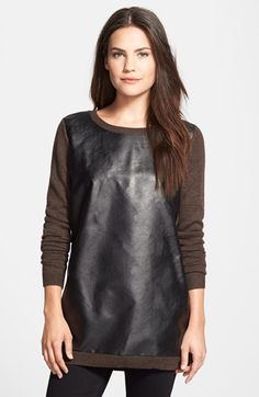 Free shipping and returns on Halogen® Zip Detail Long Sleeve Tunic Sweater (Regular & Petite) at Nordstrom.com. Zipper teeth trace on-trend edge from shoulder to wrist for a long-sleeve sweater crafted from a soft cotton blend and cut for a long tunic silhouette.