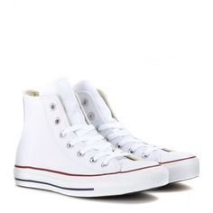 Converse Chuck Taylor All Star High-Top Sneakers (785 DKK) ❤ liked on Polyvore featuring shoes, sneakers, converse, sapatos, zapatos, white, white high top shoes, leather hi top sneakers, white hi top sneakers and converse shoes