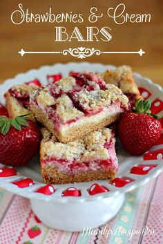 Strawberries and Cream Bars on Mandys Recipe Box. #strawberries