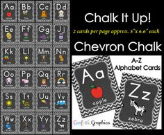 Alphabet Cards Chalkboard Chevron Word Wall by ConfettiGraphics
