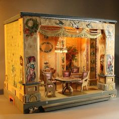 Incredible Antique French Ceremonial Room with Badeuille Furniture Set from belle-epoque-dolls on Ruby Lane