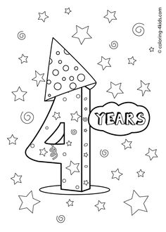4 years, birthday coloring pages for kids, printables Letter B Coloring Pages, Coloring Letters, Mermaid Coloring Pages, Coloring Sheets For Kids, Printable Coloring, Coloring Pages For Kids, Kids Coloring, Happy Birthday Printable, Happy 4th Birthday