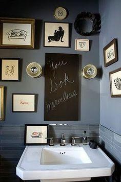 Eclectic Bathroom Design, Pictures, Remodel, Decor and Ideas - page 9 Bathroom Vanity Decor, Eclectic Bathroom, Bathroom Ideas, Downstairs Bathroom, Bathroom Artwork, Bathroom Interior, Brick Bathroom, Shared Bathroom, Bathroom Prints