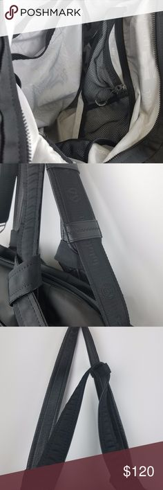 Lululemon Triumphant Tote travel Gym bag Black Lululemon Triumphant Tote travel Gym bag Black Shoulder Bag Triumph Rouching black includes crossbody strap  the item is pre-loved minor signs of wear in good or great condition lululemon athletica Bags Travel Bags