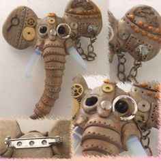 This is Georgie, geaorgie is made with a tutorial by Christi Friesen. He is made with polymer clay and steampunk elements. His tusks are made of opalite, pretty awsome right!