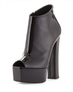 395.00$ Buy now - http://vicor.justgood.pw/vig/item.php?t=zb360t36736 - NIB Giuseppe Zanotti Lavinia Black Patent Leather Peep Toe Platform Bootie 7 37 395.00$