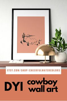 This south-western printable will become a perfect addition to your runch style home. DIY wall decor for cowboys and cowgirls. Just download, print and frame! Diy Wall Art, Diy Wall Decor, Room Decor, Colorful Wall Art, Modern Wall Art, Contemporary Art, Landscape Walls, Landscape Prints, Scandinavian Wall Decor