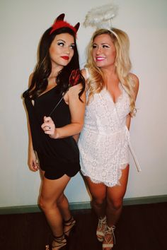 1 heaven and hell what it is partygoers dress in either white or halloween costume devil and angel college halloween costumesdiy solutioingenieria Image collections