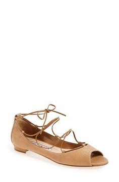 Manolo Blahnik 'Aneka' Peep Toe Flat (Women) available at #Nordstrom