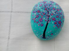 Mediterranean Sea painted stone Tree by ColorBakalito on Etsy