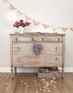 I restyled this vintage dresser with romance in mind. Such feminine details and I love the jewelry box on top! Wash & dry paint technique in Bluestone House Chalky Patina Furniture Paint! $150 Valentine's Giveway to try these amazing paints too!!! x