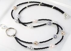 Items similar to Beaded Lanyard MADEMOISELLE in black Pearls and Glass ID Badge Holder on Etsy Lanyard Necklace, Seed Bead Necklace, Beaded Necklace, Handmade Beaded Jewelry, Beaded Jewelry Patterns, Beaded Shoes, Beaded Lanyards, Id Badge Holders, Wedding Bracelet