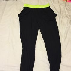 Michael Kors harem pant Soft black jersey material with elastic neon green waste band MICHAEL Michael Kors Pants Track Pants & Joggers