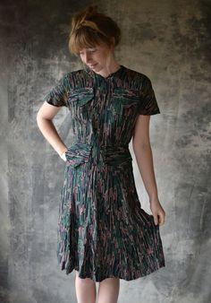 1930s Rayon Novelty Print Dress. 125.00, via Etsy. via @csfergusson