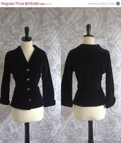 1920s Fitted Black Velvet Jacket with Rhinestone Buttons $56.00
