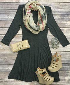 Keep Me Going Dress: Charcoal