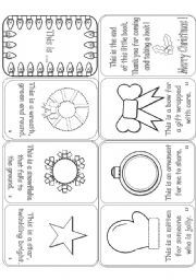 English worksheet: This is .... Christmas Mini-Book with 14 Christmas Objects
