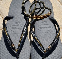 Bohemian Flip Flop Sandals Boho Style & matching bracelet, Black Women Havaianas, Beaded Foot Jewelry Sandals, Women beaded Flip Flops Set of Bronze & Silver beaded Bohemian Flip Flops & matching 4 wraps bracelet - 100% Handmade. You can decorate your hands, ears, neck but also … your