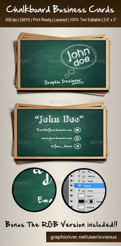 Chalkboard Business Cards - I think this is great for teachers!