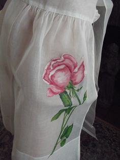 Vintage 50s 60s Frilly Apron, Handpainted Roses Rockabilly Apron Mid Century, Sheer White Organdy Hostess Apron, New Old Stock Mad Men Apron by TomCatBazaar on Etsy