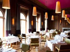 Dining room at Cowley Manor Hotel, furniture designed by Kay+Stemmer.