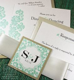 Elegant Wedding Invitation Light Gold Mint Green by JWDPaperie