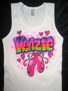 Airbrushed personalized rainbow name shirt with by glamourtoes, $36.00
