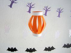 Orange Halloween Paper Lantern with White Trim by DesignSprinkle