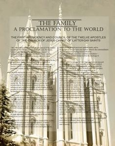The Family A Proclamation to the World over pictures or temples. Also some cute free printables.