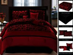 7 Piece Faux Silk Satin Comforter Set Bedding In A Bag Burgundy Red Black King