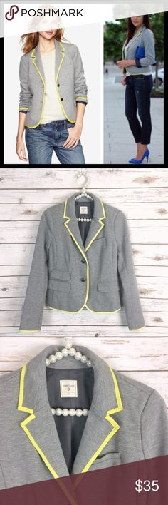 gap // neon piped trim gray ponte academy blazer The iconic schoolboy blazer with a fun pop of color! Light heathered gray with a bright yellow trim. Lined in a tiny polka dot navy fabric - you can roll the sleeves up to show it off. Poly/viscose/spandex ponte fabric. Great preowned condition with very faint pilling. GAP Jackets & Coats Blazers