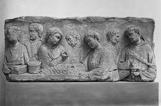 Relief von einem Grabpfeiler mit Darstellung einer Pachtzahlung
