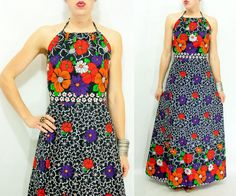 70's Vintage Two Piece Backless Dress Floral Halter Maxi Dress Set by viralthreads