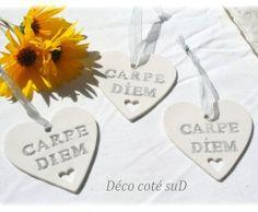"""Coeur """"carpé diem """" Email écriture gris / transparent. ( 6 )"""