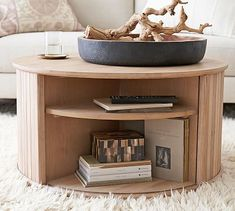 """Arlo 31"""" Tambour Round Storage Coffee Table 