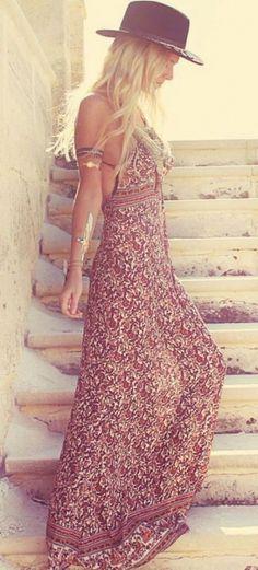 #street #style boho pattern pring maxi dress @wachabuy
