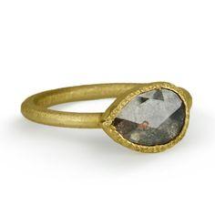 18 Karat Yellow Gold Ring with a Pear-Shaped Rose-Cut Cognac Diamond