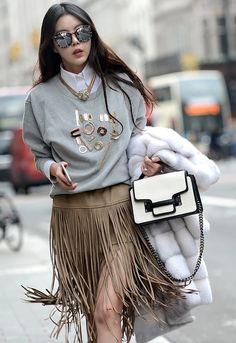 yes to fringe leather skirts. #LFW
