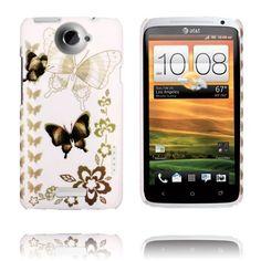 Valentine (Hvit Himmel - Mørk Sommerfugl) HTC One X Deksel