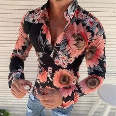 Honey GD Mens Long Sleeve Solid Colored Denim Button Individuality Shirt